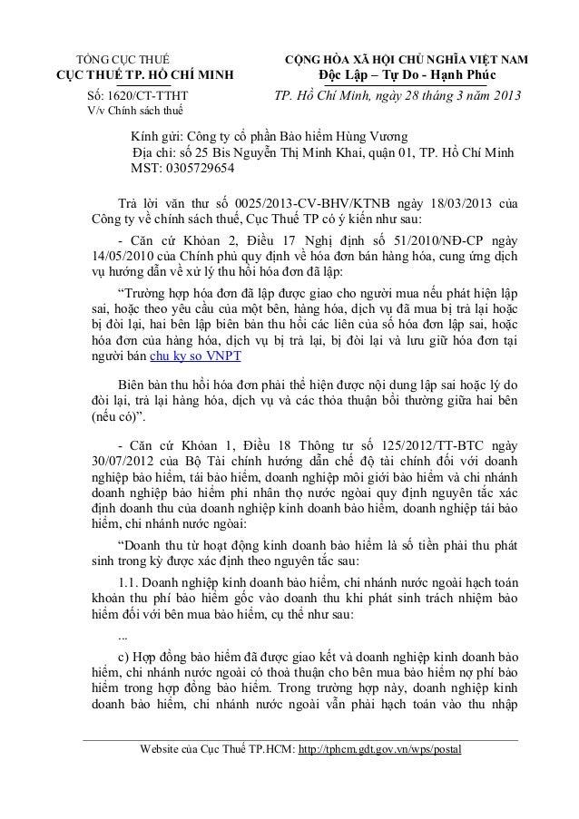 TỔNG CỤC THUẾ CỘNG HÒA XÃ HỘI CHỦ NGHĨA VIỆT NAMCỤC THUẾ TP. HỒ CHÍ MINH Độc Lập – Tự Do - Hạnh PhúcSố: 1620/CT-TTHT TP. H...