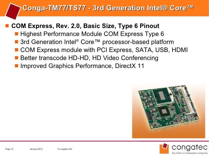 Conga-TM77/TS77 - 3rd Generation Intel® Core™ COM Express, Rev. 2.0, Basic Size, Type 6 Pinout    Highest Performance Mo...