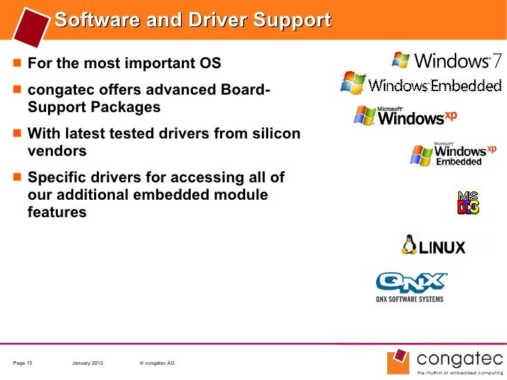 Software and Driver Support For the most important OS congatec offers advanced Board-     Support Packages With latest ...