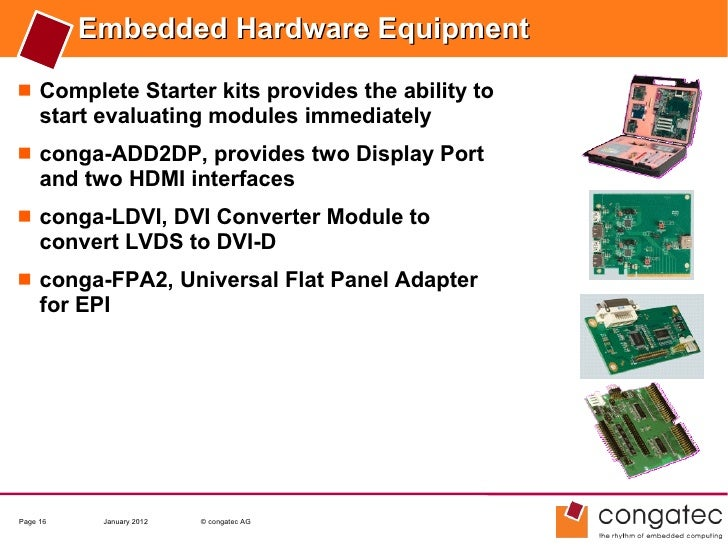 Embedded Hardware Equipment Complete Starter kits provides the ability to     start evaluating modules immediately conga...