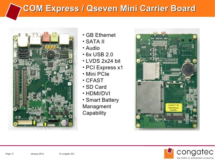 COM Express / Qseven Mini Carrier Board                                          • GB Ethernet                            ...