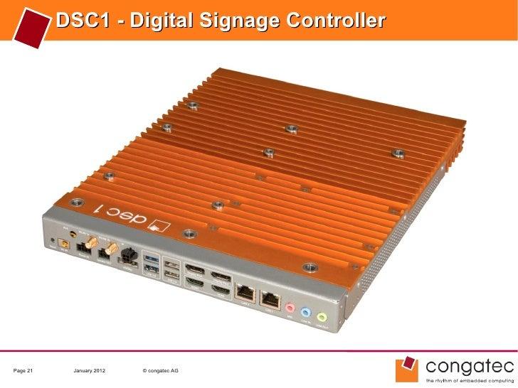 DSC1 - Digital Signage ControllerPage 21    January 2012   © congatec AG