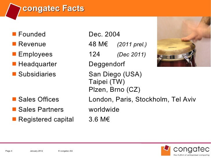 congatec Facts      Founded                           Dec. 2004      Revenue                           48 M€ (2011 prel....