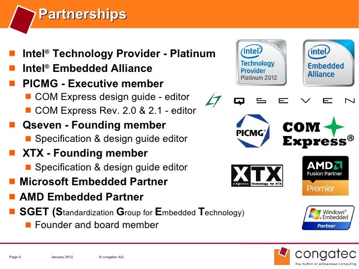 Partnerships Intel® Technology Provider - Platinum Intel® Embedded Alliance PICMG - Executive member    COM Express de...