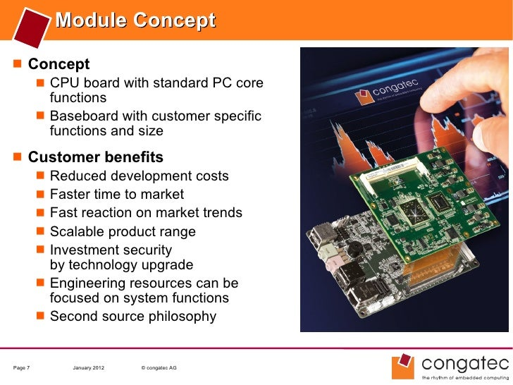 Module Concept Concept    CPU board with standard PC core     functions    Baseboard with customer specific     functio...