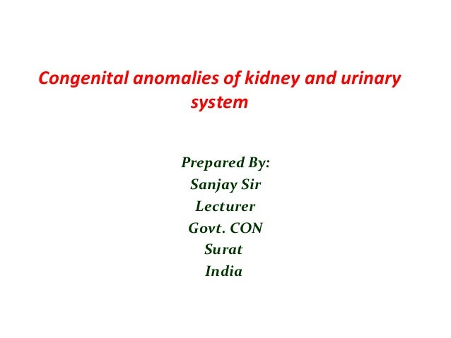 Congenital anomalies of kidney and urinary system Prepared By: Sanjay Sir Lecturer Govt. CON Surat India