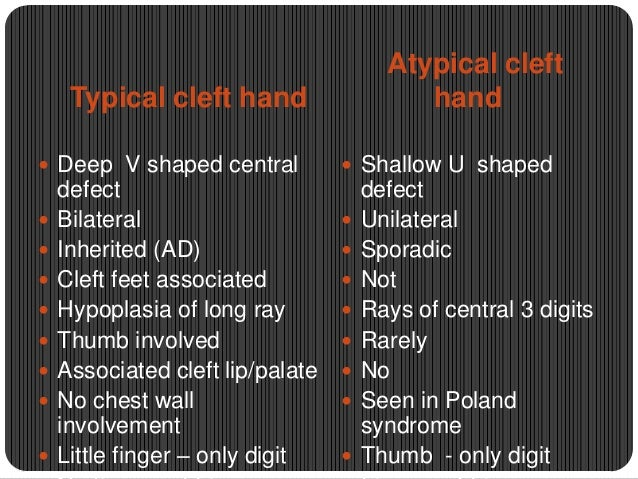 Atypical cleft hand  Typical cleft hand  Deep V shaped central           defect Bilateral Inherited (AD) Cleft fe...