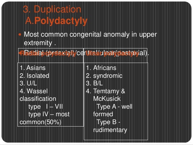 3. Duplication A.Polydactyly  Most common congenital anomaly in upper  extremity .  Radial (preaxial)/central/ulnar(post...