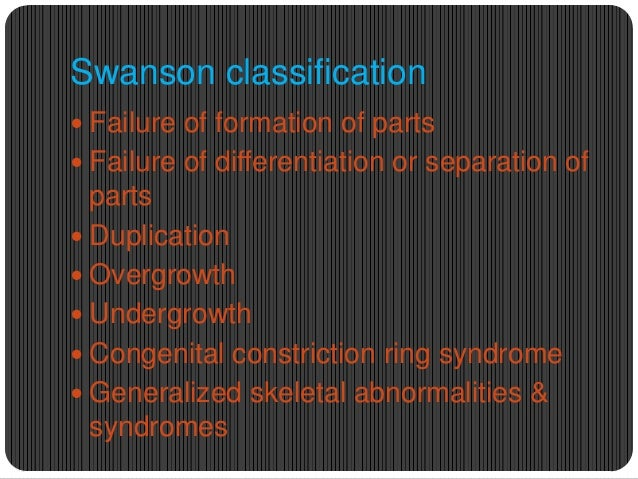 Swanson classification  Failure of formation of parts  Failure of differentiation or separation of  parts  Duplication ...