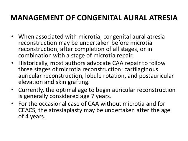 SCORING SYSTEM FOR CANDIDACY FOR SURGERY FOR CONGENITAL AURAL ATRESIA SCORE Stapes present 2 Oval window open 1 Middle ear...