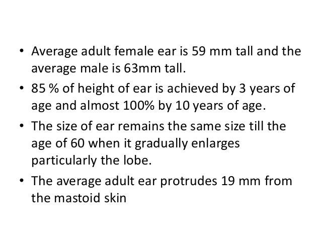 • The long axis of the ear slopes backwards in line with the slope of the nose. • The ear lies between the level of the ey...