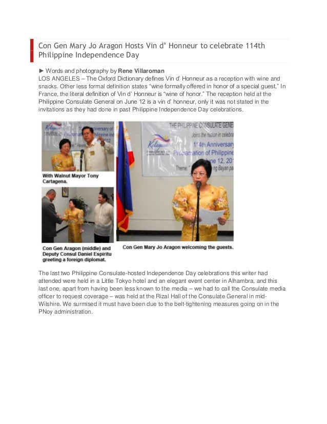 Con Gen Mary Jo Aragon Hosts Vin d' Honneur to celebrate 114thPhilippine Independence Day► Words and photography by Rene V...
