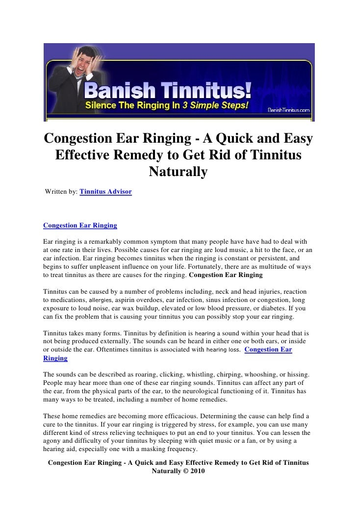 Congestion ear ringing a quick and easy effective remedy to