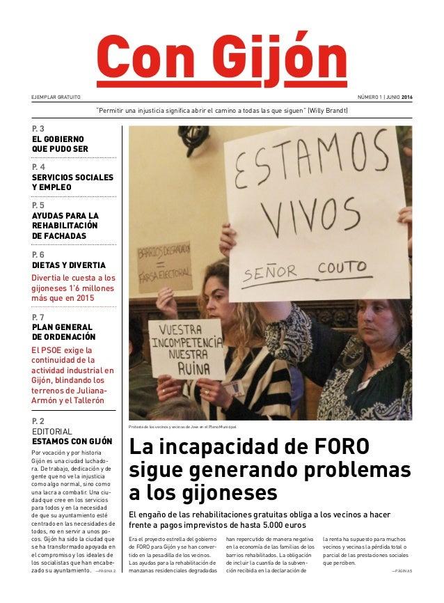 """Con Gijón La incapacidad de FORO sigue generando problemas a los gijoneses """"Permitir una injusticia significa abrir el cam..."""