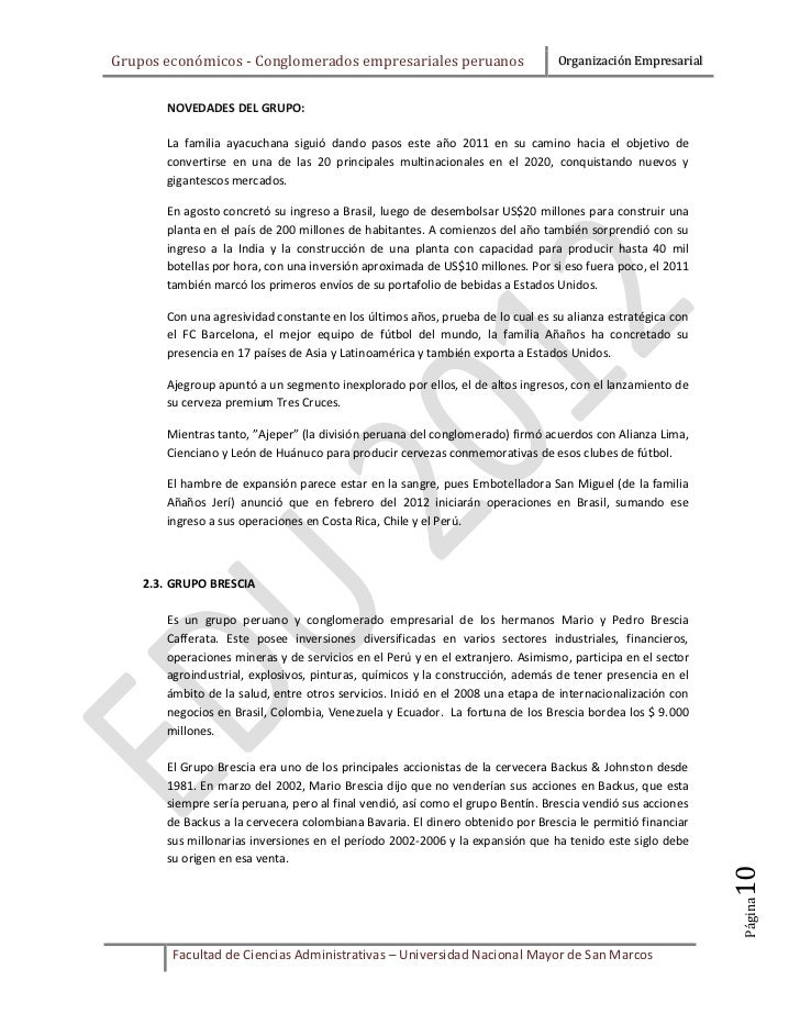Grupos económicos - Conglomerados empresariales peruanos                        Organización Empresarial       NOVEDADES D...