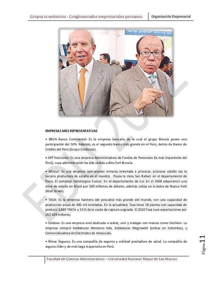 Grupos económicos - Conglomerados empresariales peruanos                      Organización Empresarial       EMPRESAS MÁS ...