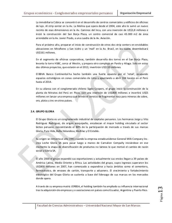 Grupos económicos - Conglomerados empresariales peruanos                         Organización Empresarial       La inmobil...