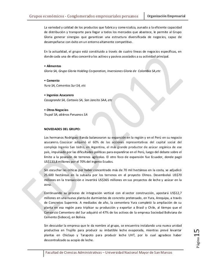 Grupos económicos - Conglomerados empresariales peruanos                         Organización Empresarial       La varieda...