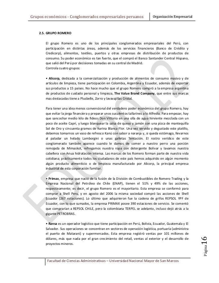 Grupos económicos - Conglomerados empresariales peruanos                         Organización Empresarial    2.5. GRUPO RO...