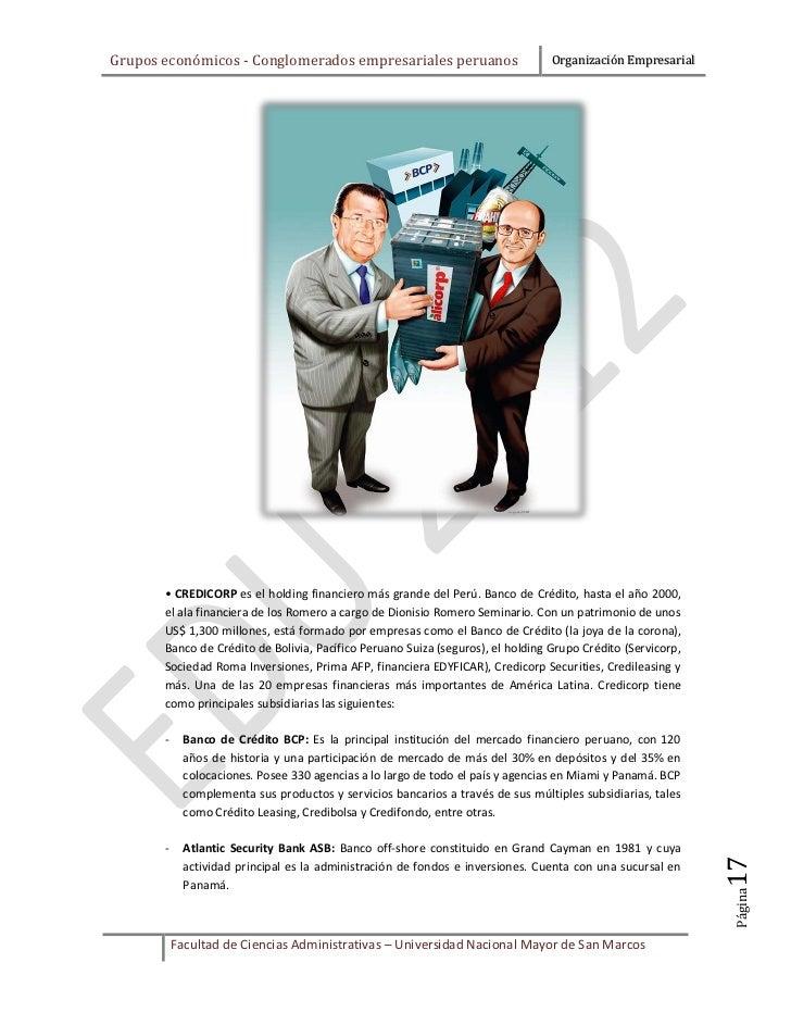Grupos económicos - Conglomerados empresariales peruanos                         Organización Empresarial       • CREDICOR...