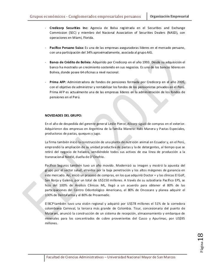 Grupos económicos - Conglomerados empresariales peruanos                            Organización Empresarial       -     C...