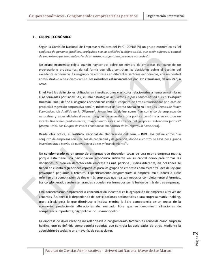 Grupos económicos - Conglomerados empresariales peruanos                            Organización Empresarial 1. GRUPO ECON...