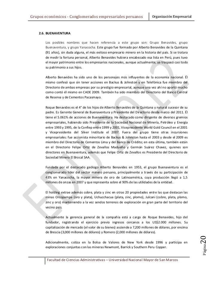 Grupos económicos - Conglomerados empresariales peruanos                         Organización Empresarial    2.6. BUENAVEN...