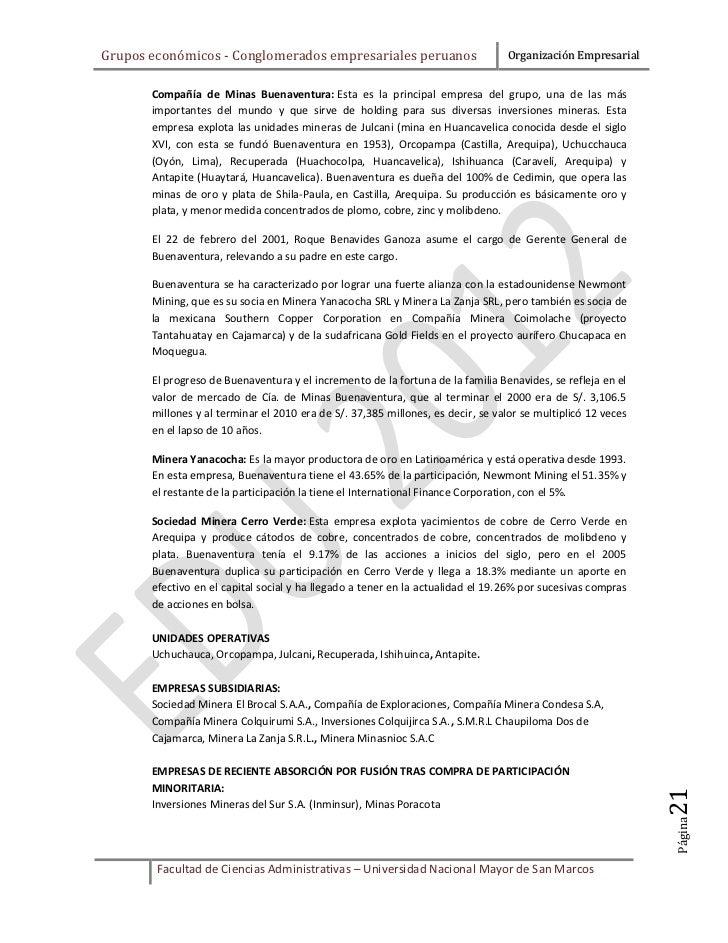 Grupos económicos - Conglomerados empresariales peruanos                         Organización Empresarial       Compañía d...