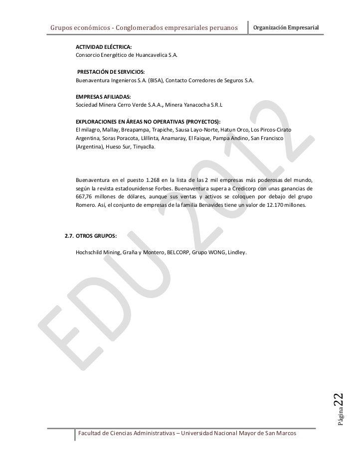 Grupos económicos - Conglomerados empresariales peruanos                       Organización Empresarial       ACTIVIDAD EL...