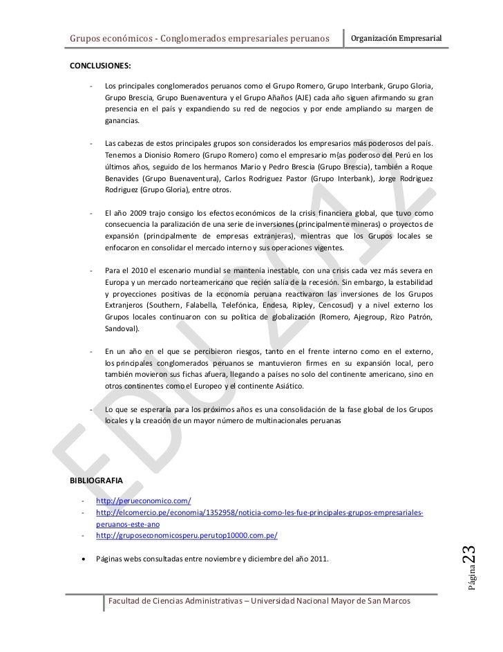 Grupos económicos - Conglomerados empresariales peruanos                           Organización EmpresarialCONCLUSIONES:  ...