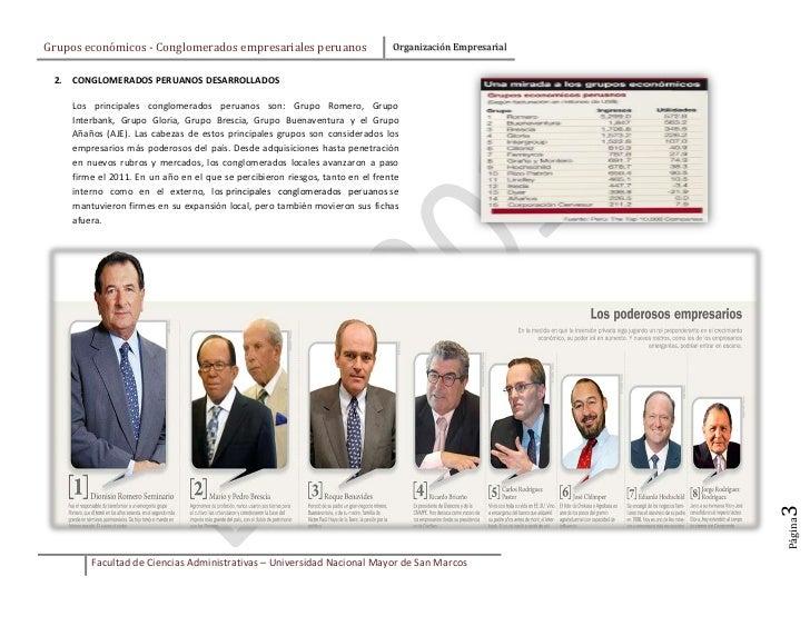 Grupos económicos - Conglomerados empresariales peruanos                         Organización Empresarial 2.   CONGLOMERAD...