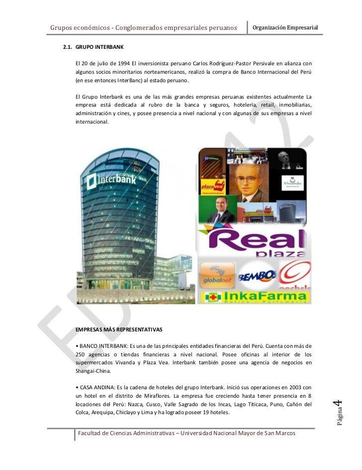 Grupos económicos - Conglomerados empresariales peruanos                      Organización Empresarial   2.1. GRUPO INTERB...