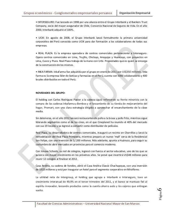 Grupos económicos - Conglomerados empresariales peruanos                         Organización Empresarial       • INTERSEG...