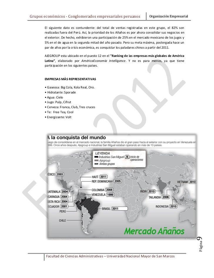 Grupos económicos - Conglomerados empresariales peruanos                        Organización Empresarial       El siguient...