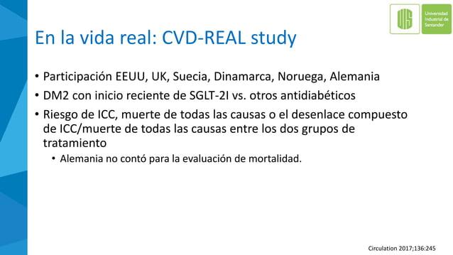 Hallazgos en CVD-REAL Study • El tratamiento con SGLT-2i vs. oAD se asoció con RRR • 39% en ICC • 51% en muerte de todas l...