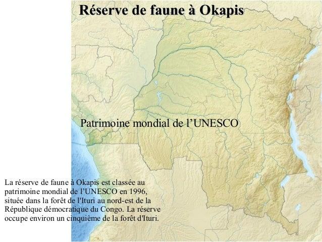 Réserve de faune à Okapis  Patrimoine mondial de l'UNESCO  La réserve de faune à Okapis est classée au patrimoine mondial ...