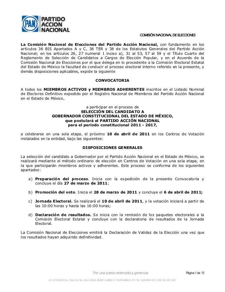 COMISIÓN NACIONAL DE ELECCIONESLa Comisión Nacional de Elecciones del Partido Acción Nacional, con fundamento en losartícu...