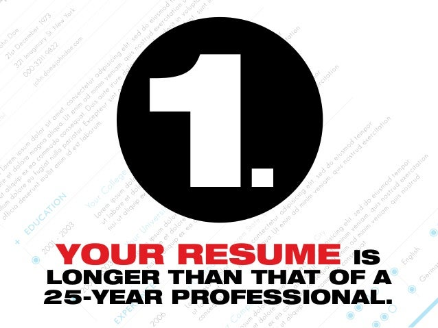 YOUR RESUME IS LONGER THAN THAT OF A 25-YEAR PROFESSIONAL. 1.