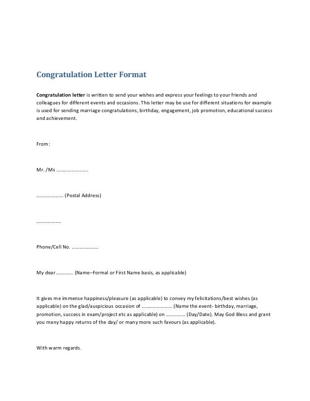 Congratulation letter format 1 638gcb1382568547 congratulation letter format congratulation letter is written to send your wishes and express your feelings to thecheapjerseys Image collections