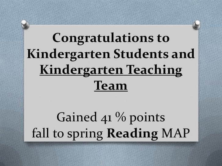 Congratulations toKindergarten Students and  Kindergarten Teaching          Team      Gained 41 % pointsfall to spring Rea...