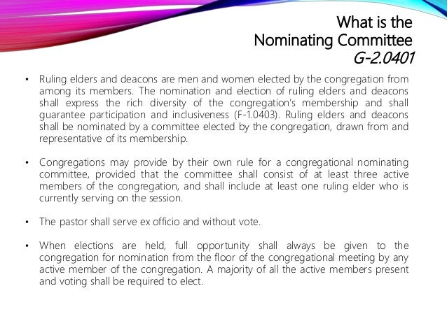 Congregational Nominating Committee Overview  Slide 2