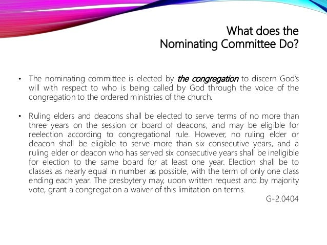 Congregational Nominating Committee Overview  Slide 3