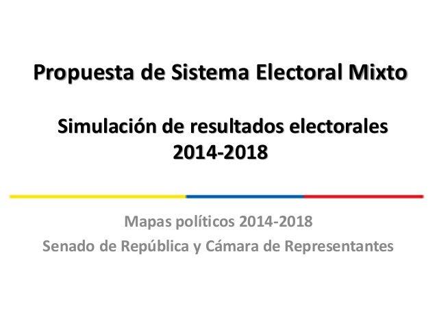 Propuesta de Sistema Electoral Mixto Simulación de resultados electorales 2014-2018 Mapas políticos 2014-2018 Senado de Re...