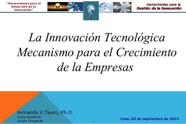 """1 Herramientas para laHerramientas para la Gestión de la InnovaciónGestión de la Innovación """"Herramientas para el Desarrol..."""