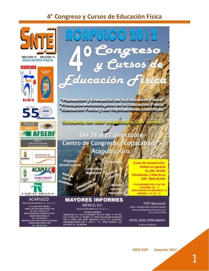 4° Congreso y Cursos de Educación Física                             SNTE-FIEP   Acapulco 2012                            ...