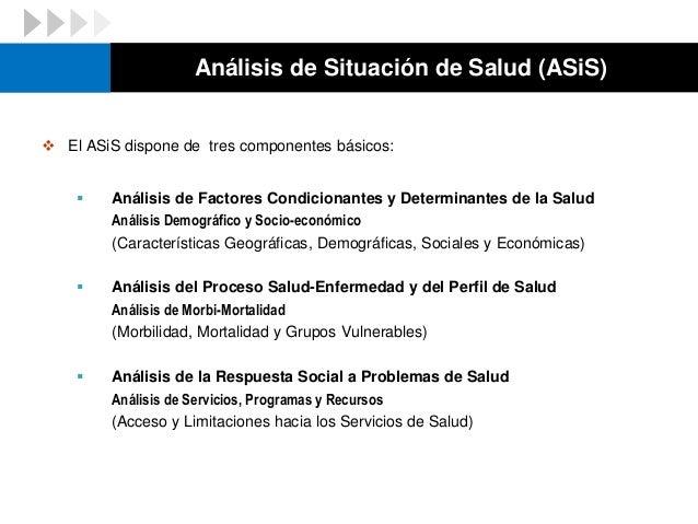  Incluye el Análisis de Situación de Salud (ASiS) cuyo propósito es identificar las características socio psicológicas, e...