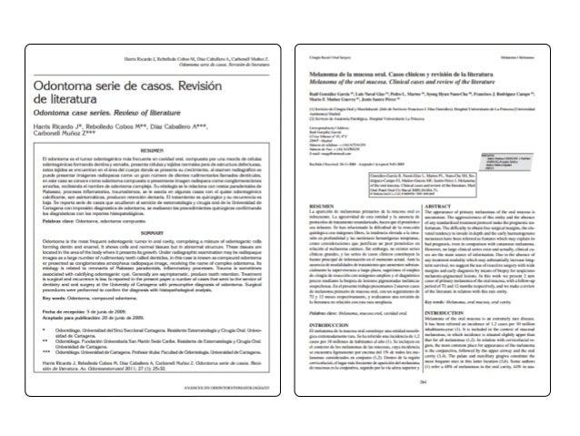 ODONTOLOGÍA PUB L IC AC IONES 1. Carátula 2. Título 3. Revisores 4. Fuentes de apoyo 5. Texto de la revisión 6. Sinopsis 7...