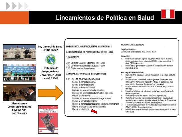 Ley General de Salud Ley Nº 26842 Ley Marco de Aseguramiento Universal en Salud Ley Nº 29344 Plan Nacional Concertado de S...