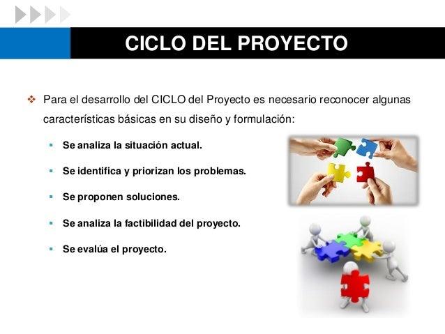 CICLO DEL PROYECTO  Para el desarrollo del CICLO del Proyecto es necesario reconocer algunas características básicas en s...