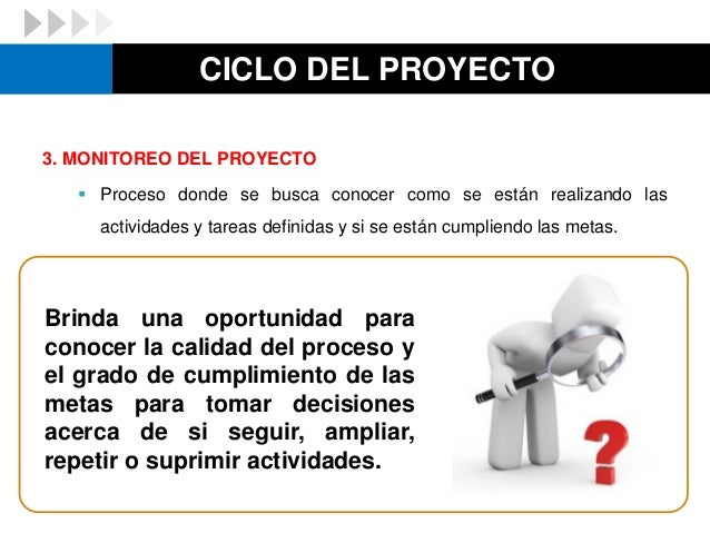 CICLO DEL PROYECTO 3. MONITOREO DEL PROYECTO  Proceso donde se busca conocer como se están realizando las actividades y t...